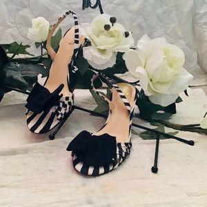 ♠️KATE SPADE♠️heels🌹sandal black/white with bow
